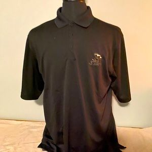 Men's gently worn Antigua black golf shirt.